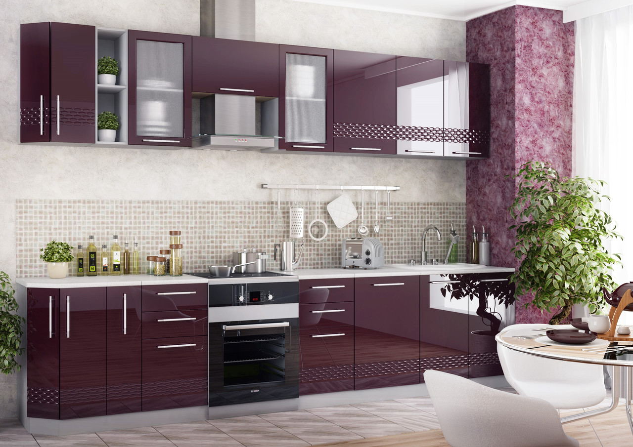 Фиолетовые фасады шкафчиков мебели