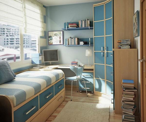 Голубые оттенки в небольшой комнате