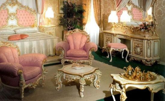 Интерьер в стиле рококо и мебель