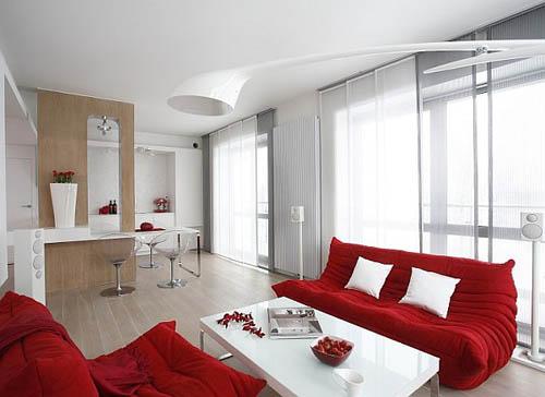 Красная мебель на белом фоне