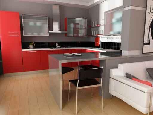 Красные фасады мебели
