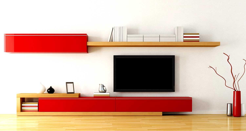 Красные надежные фасады стенки в зале