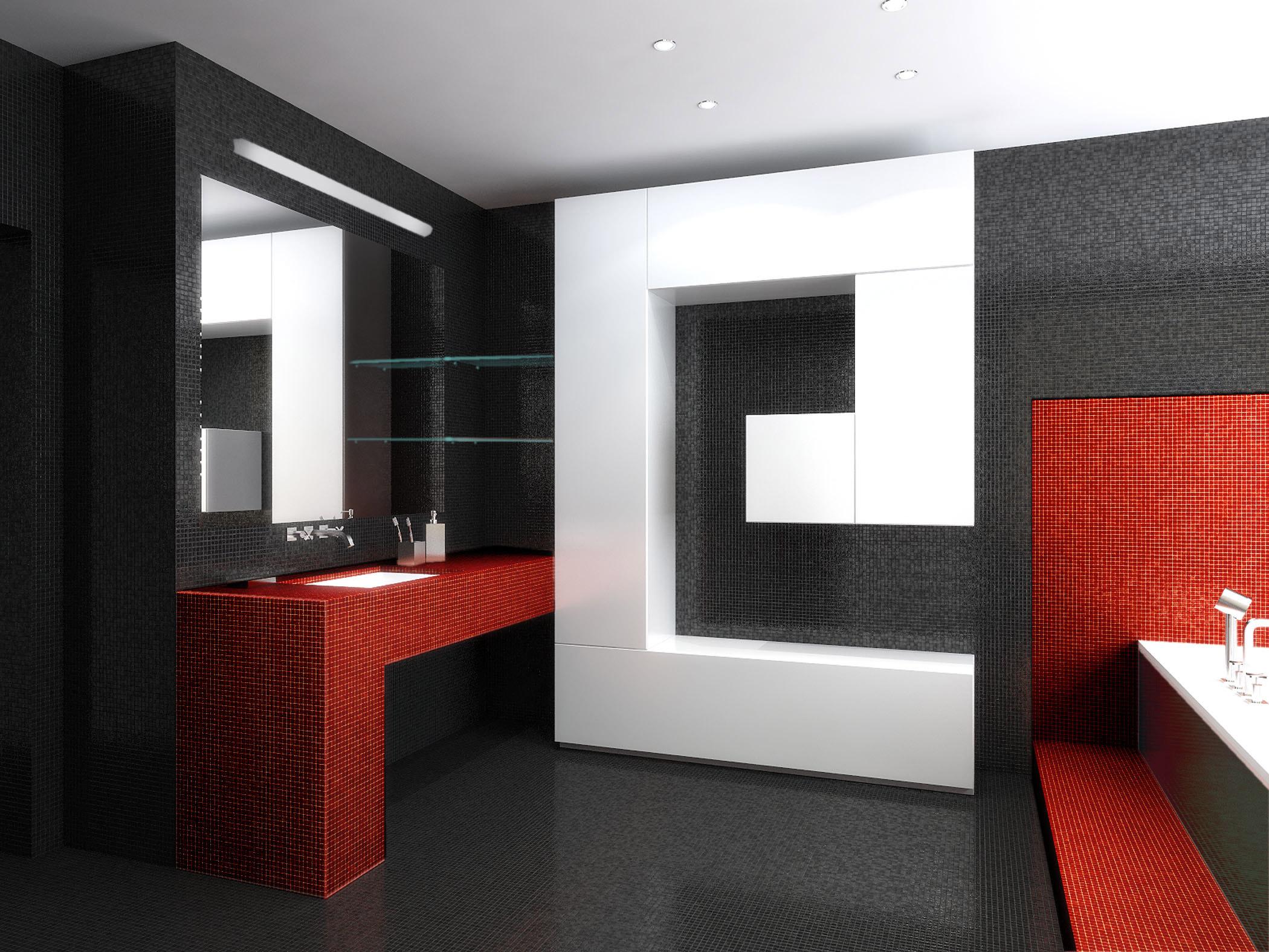 Красные оттенки в спальне стиля хай-тек