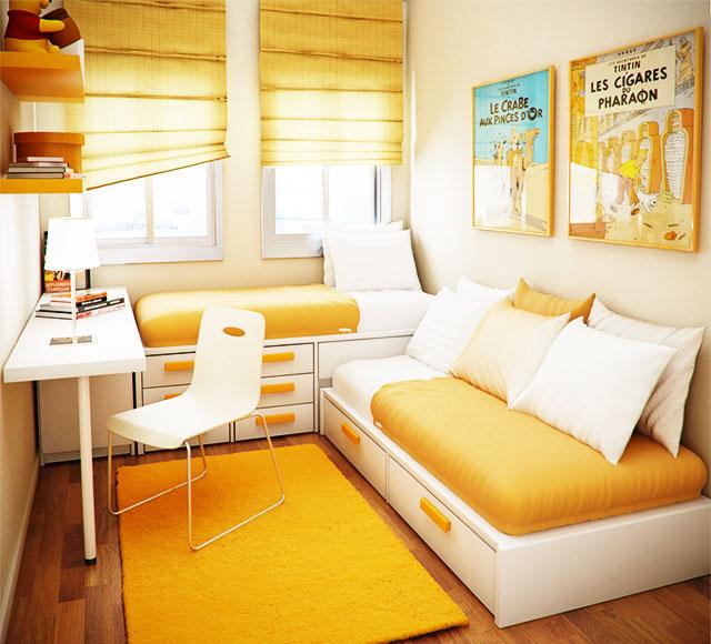 Маленькая комната в желтом цвете