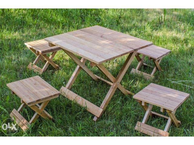 Набор складной мебели на основе дерева