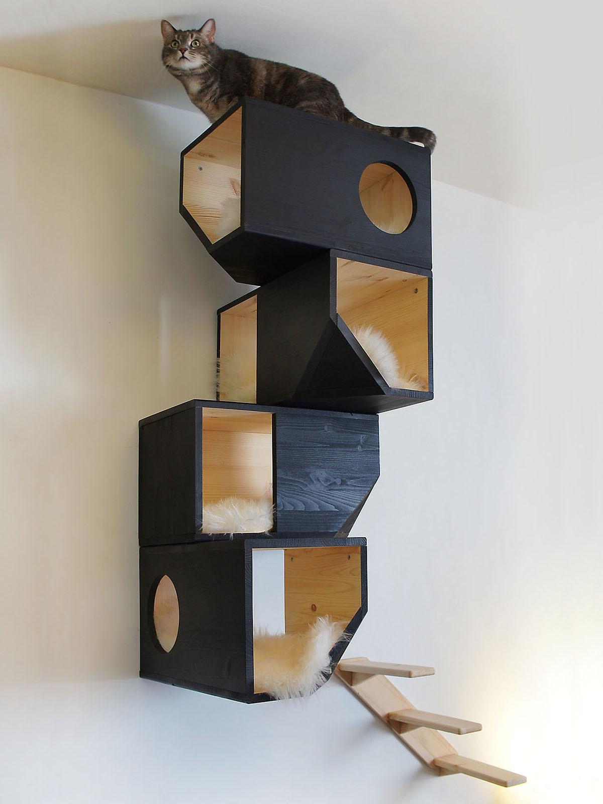 Настенный модульный домик для кошки