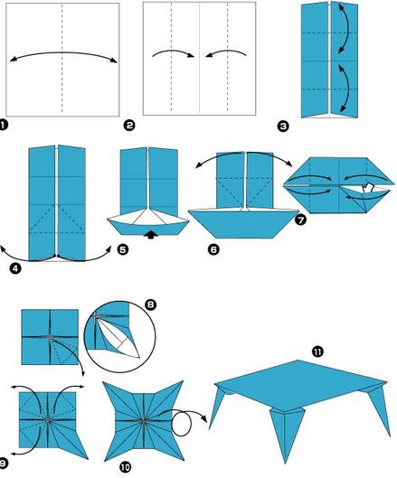Оригами стол из бумаги