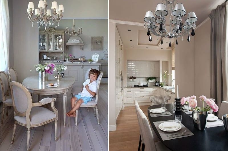 Овальный стол в интерьере кухни-столовой