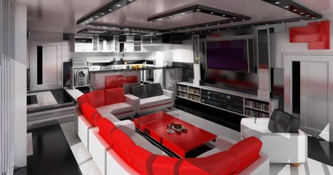 П-образный красный диван