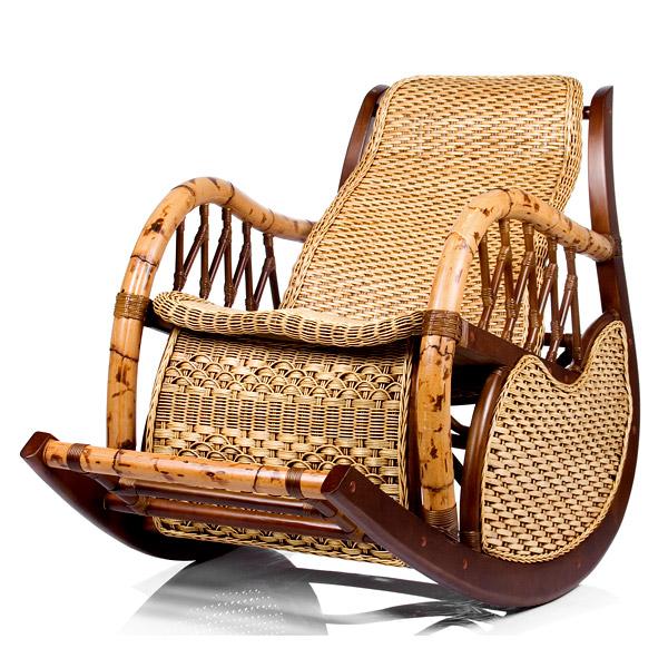 Плетеное кресло качалка бамбук