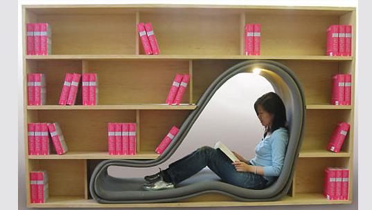 Полки для книг с местом для чтения