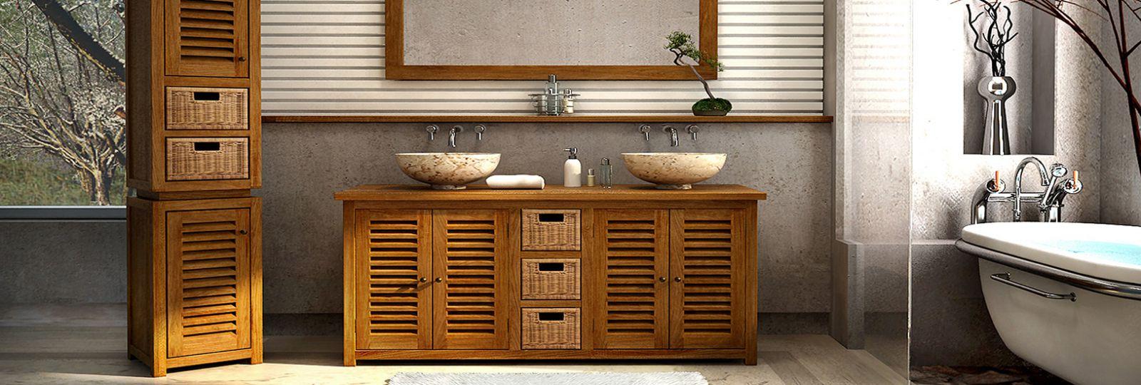 Применение тиковой мебели в ванной комнате