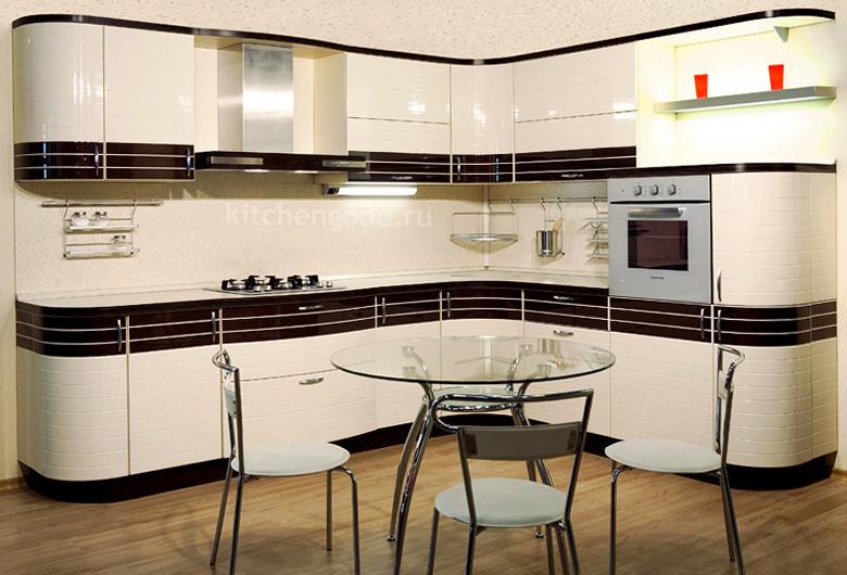 Приятные оттенки кухонного современного гарнитура
