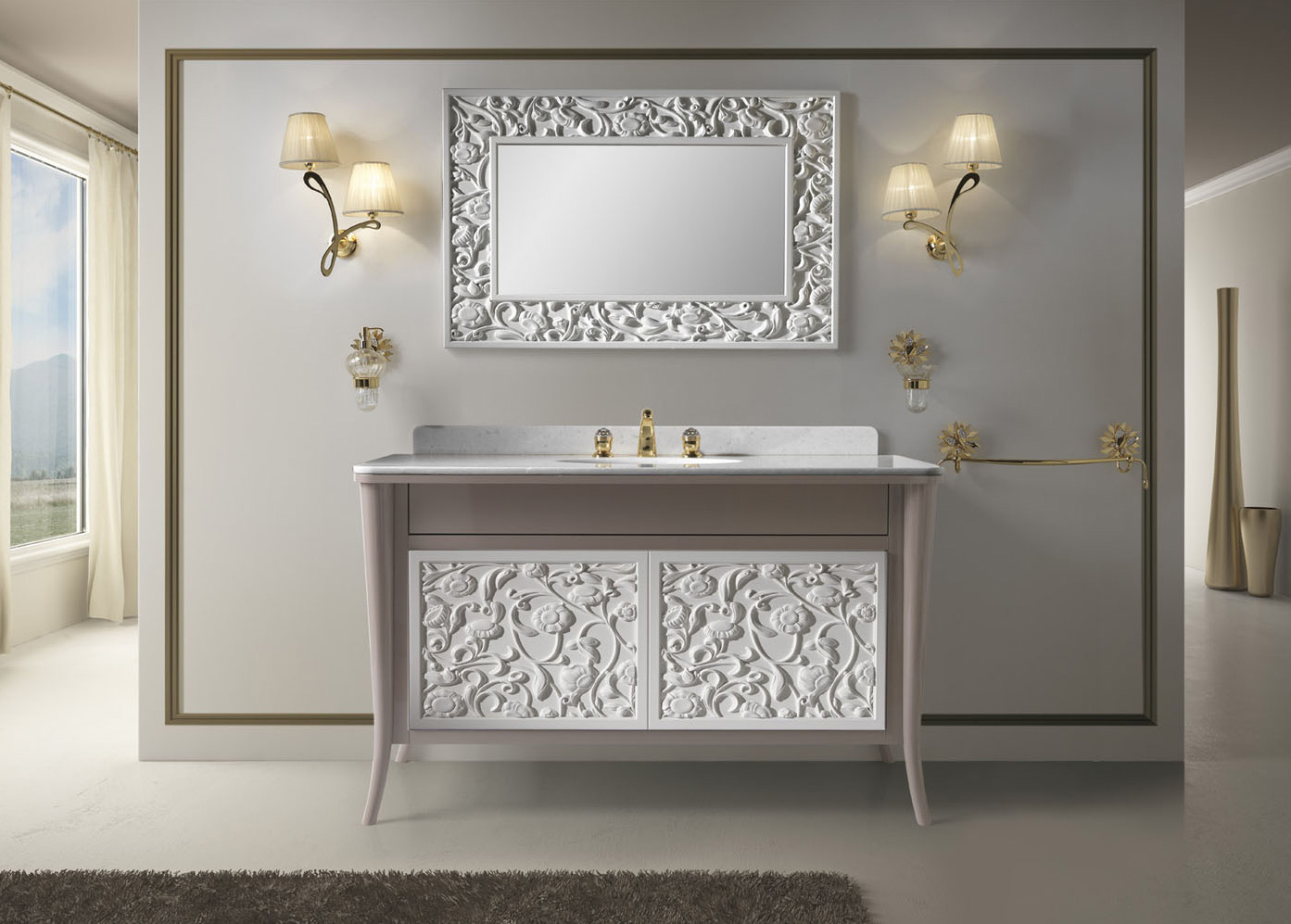 Серая мебель с оригинальными покрытиями