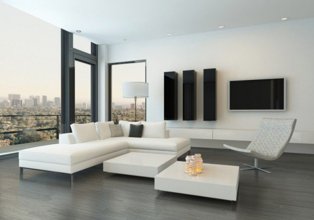 Сочетание черных и белых предметов мебели