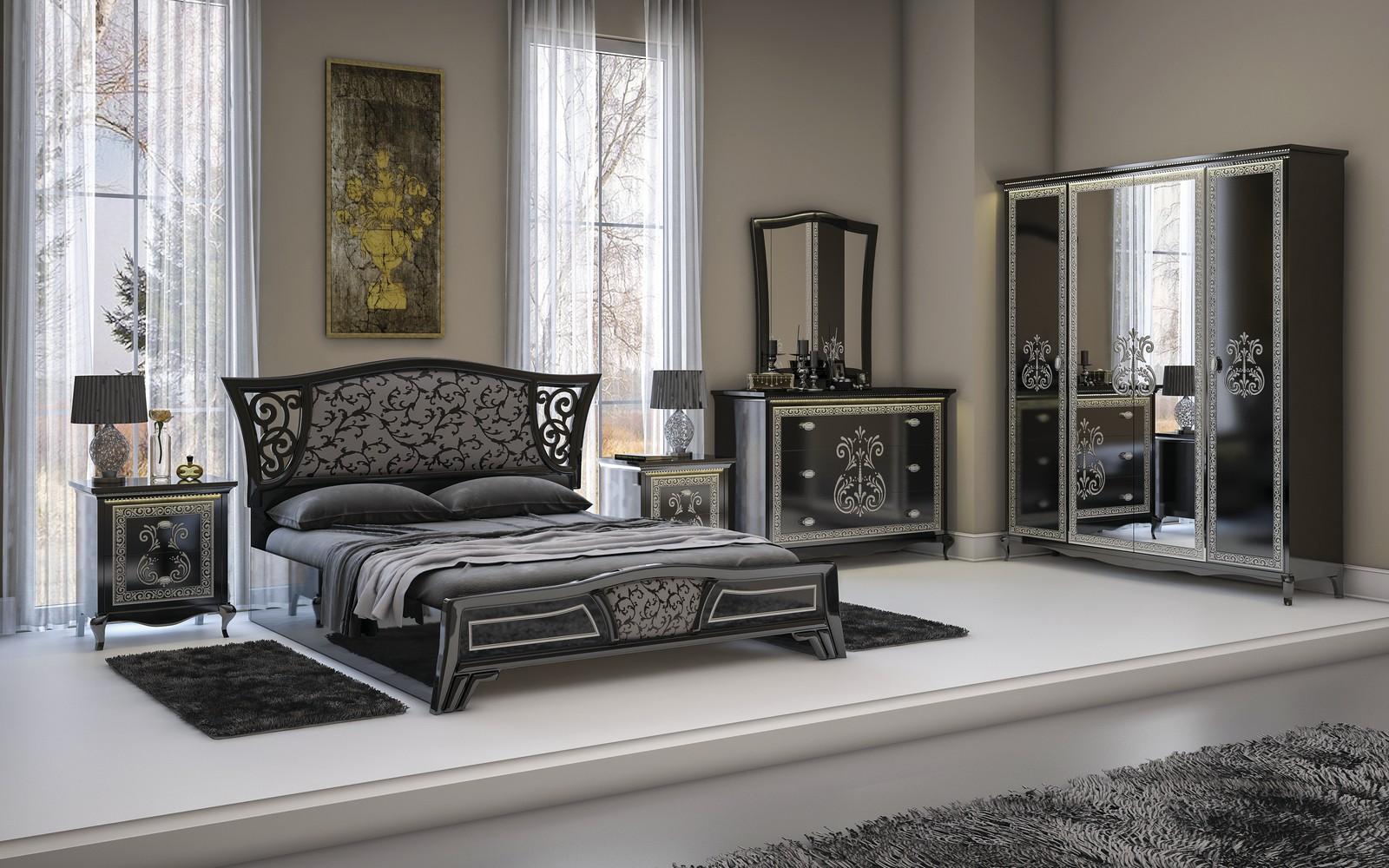 Спальня в черном цвете с глянцем