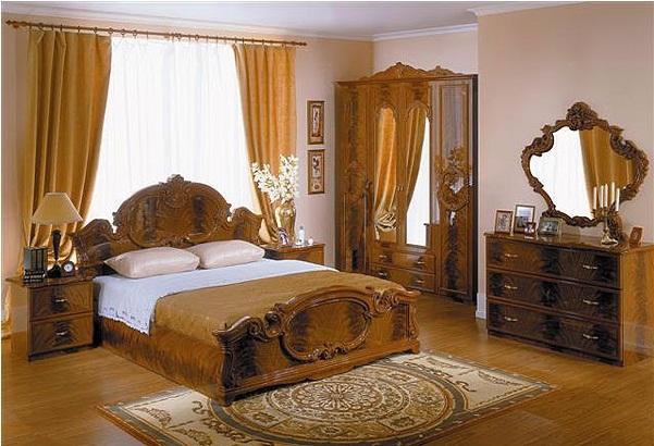 Спальный гарнитур в оформлении барокко