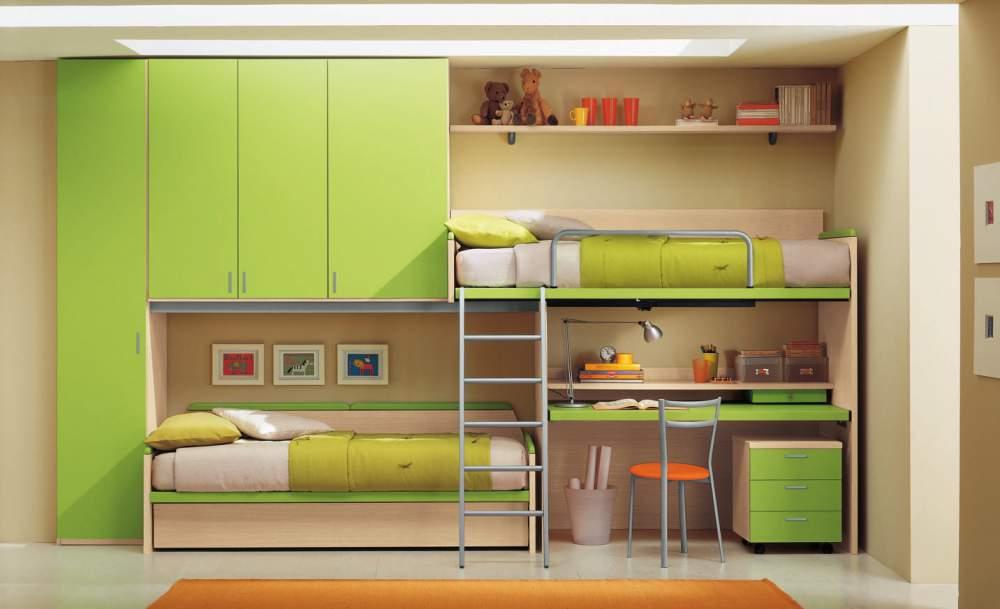 Стенка для обустройства зеленого цвета