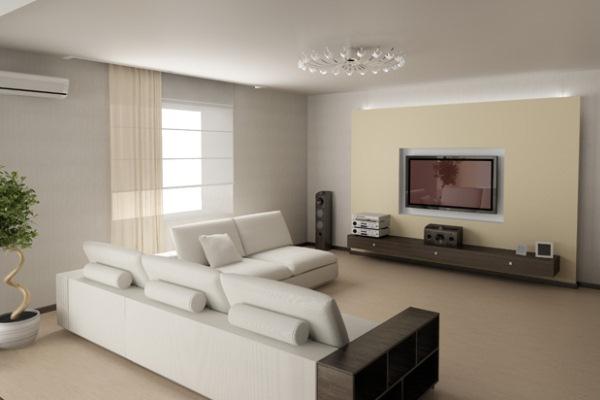 Светлая просторная гостиная комната