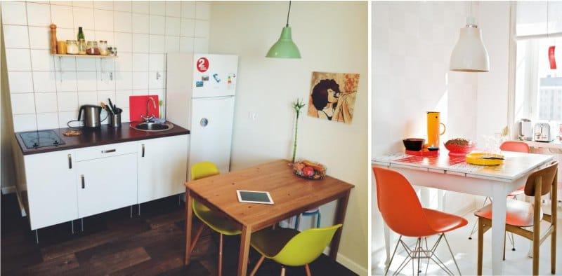 Цветные стулья в интерьере кухни