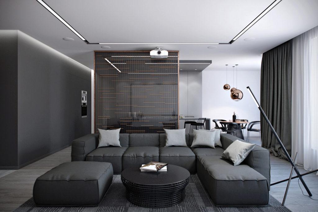 Темный мягкий диван