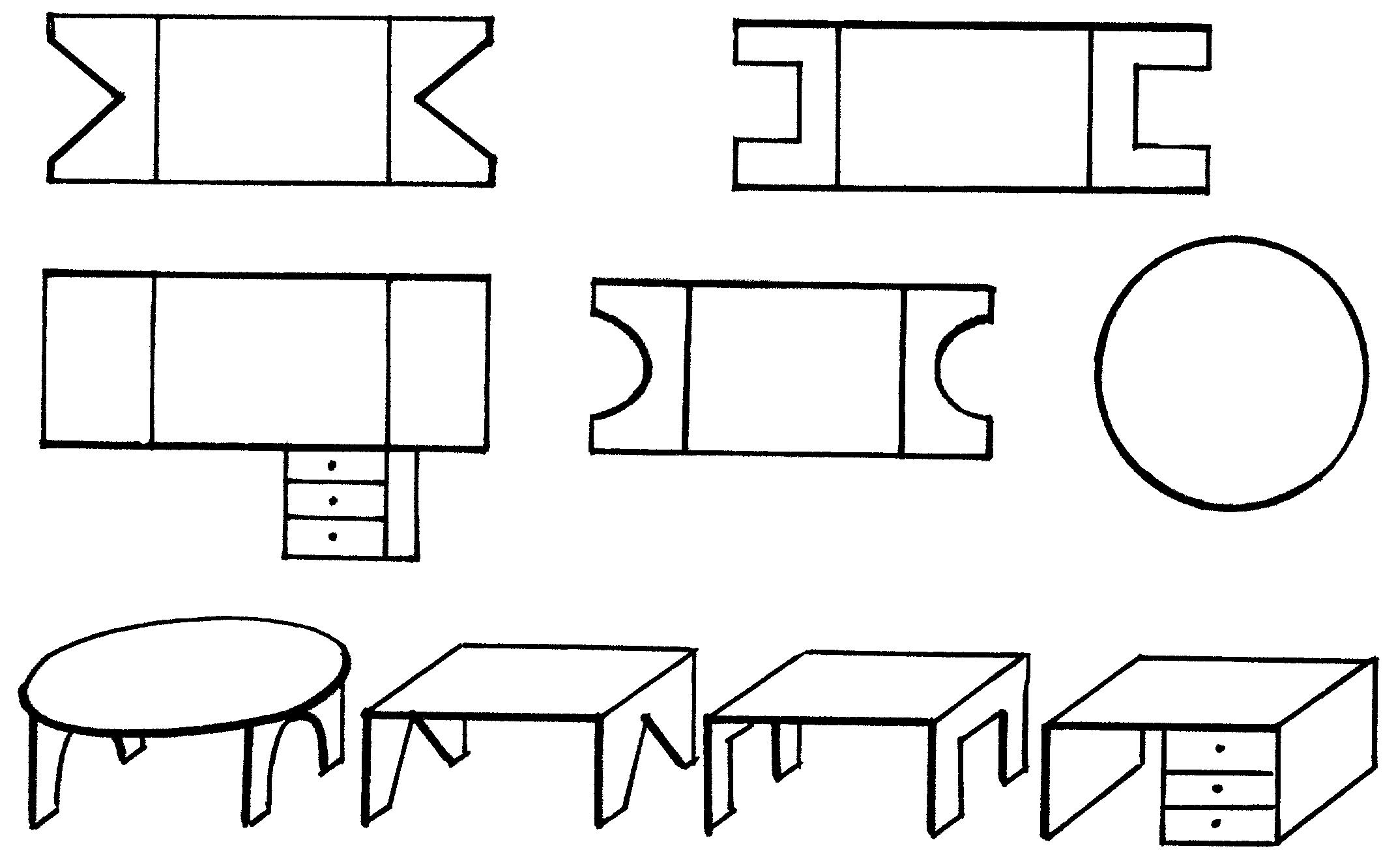 Трафареты и схемы сборки бумажной мебели