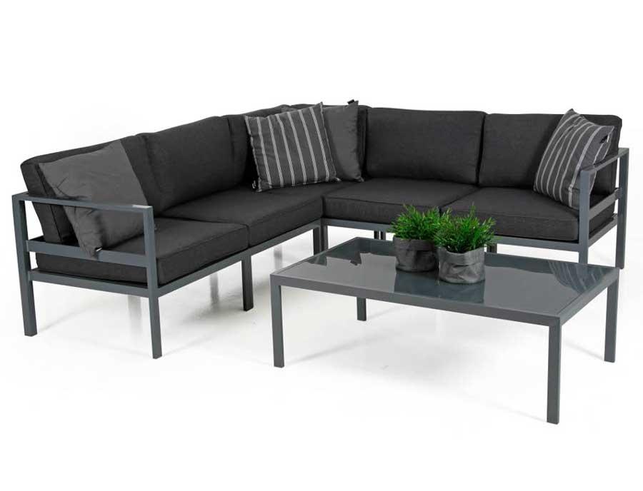 Угловой черный диван на металлической основе