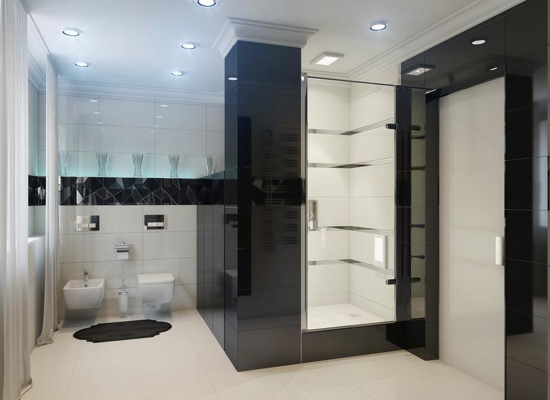 Ванная с душем и санузлом в стиле хай-тек