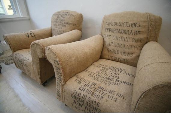 Винтажные кресла из мешковины