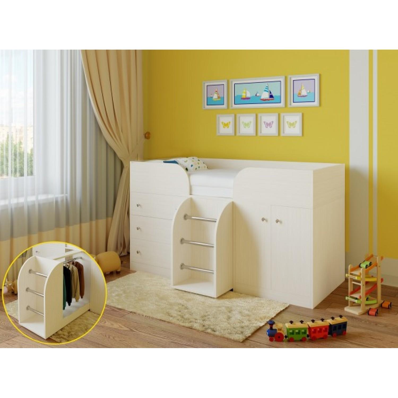 Белая компактная кровать с двумя ярусами с чердаком