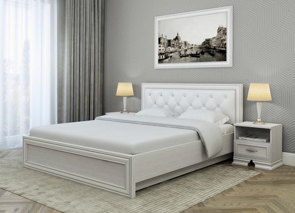 Белое спальное ложе с подъемным механизмом