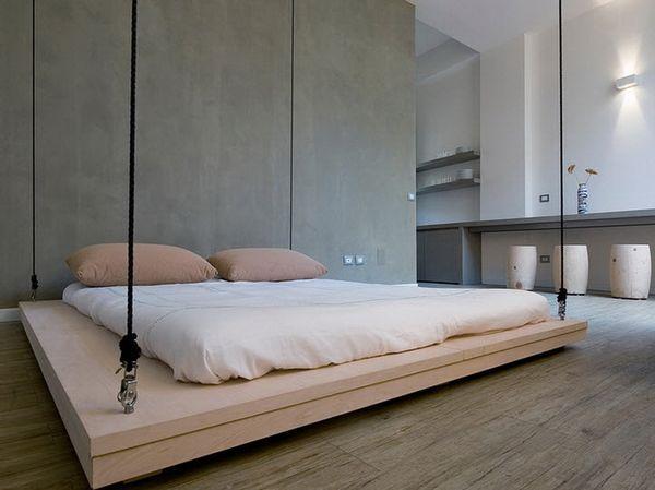 Белоснежная спальная кровать для комнаты в стиле минимализм