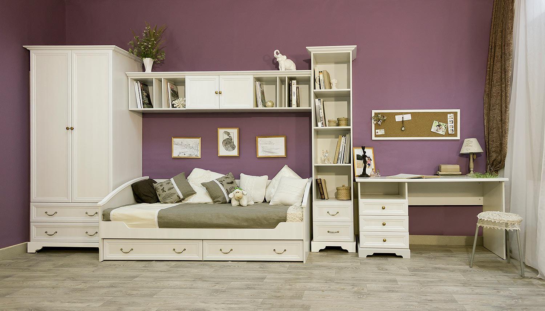 Белый оттенок корпусной детской мебели
