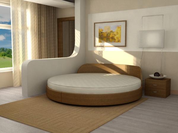 Благодаря различным формам круглая кровать отлично вписывается в интерьер спальни