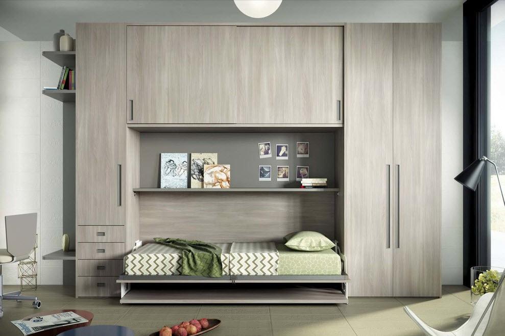 Блок со шкафчиками и ящичками со встроенной кроватью