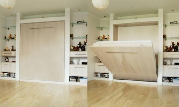 Большая откидная кровать в нише в спальне