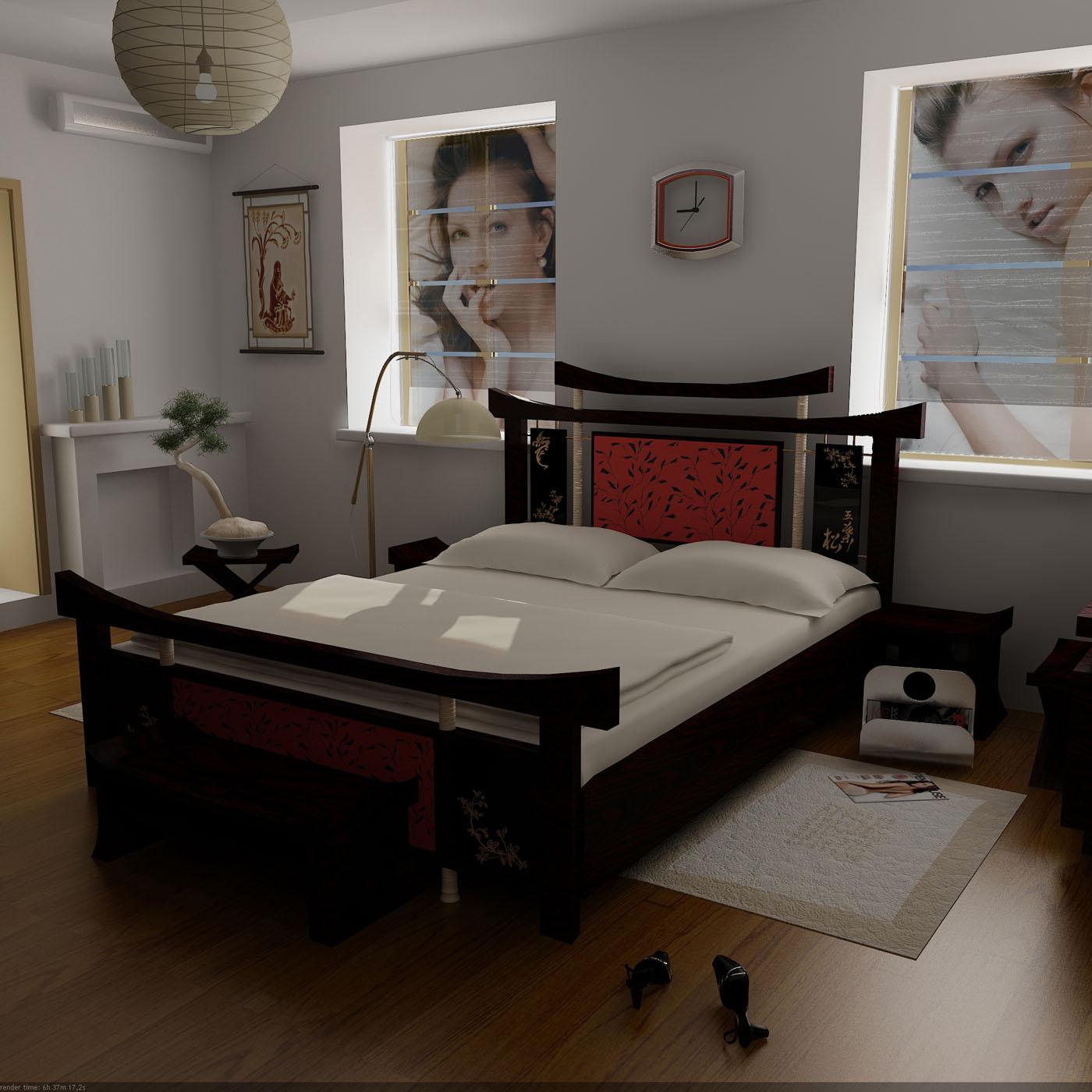 Черно-красное оформление современной кровати