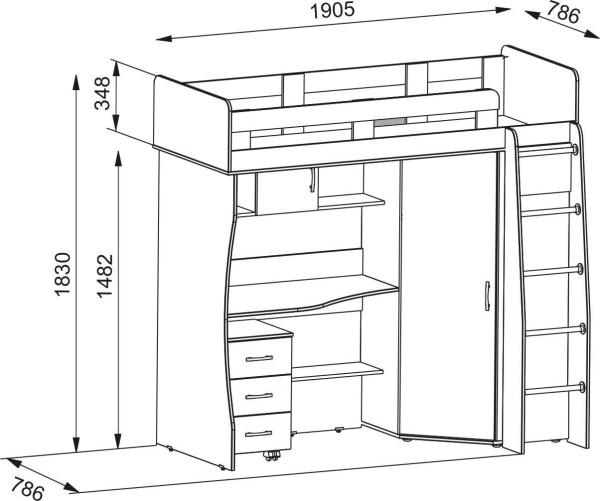 Чертеж - кровать чердак для подростка со шкафом и рабочим местом