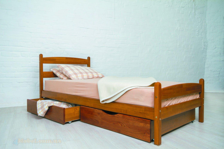 Деревянная практичная кровать для одного человека