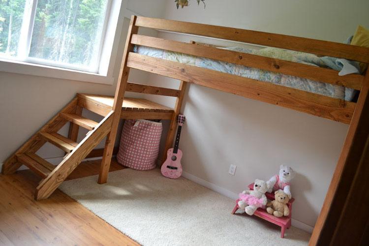 Детская кровать-чердак из массива