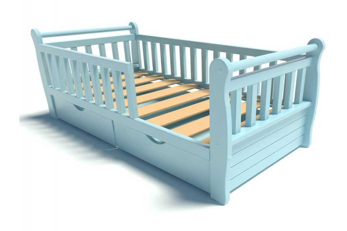 Детская кровать тахта голубого цвета