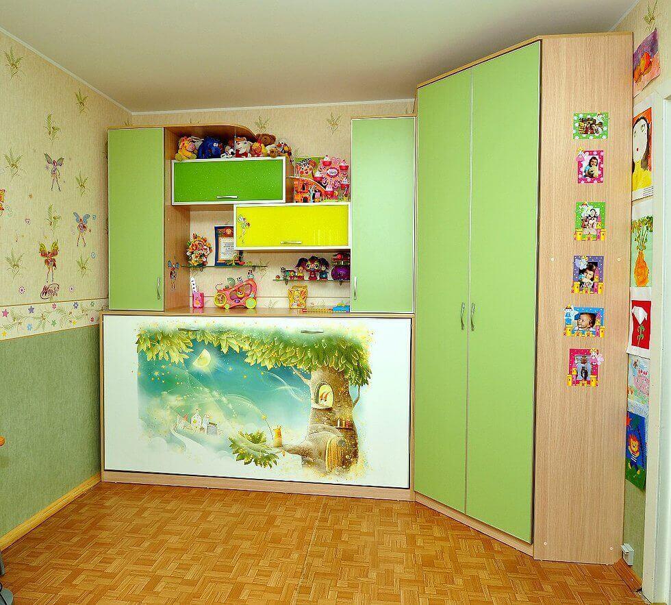 Детская кровать встроенная в шкаф