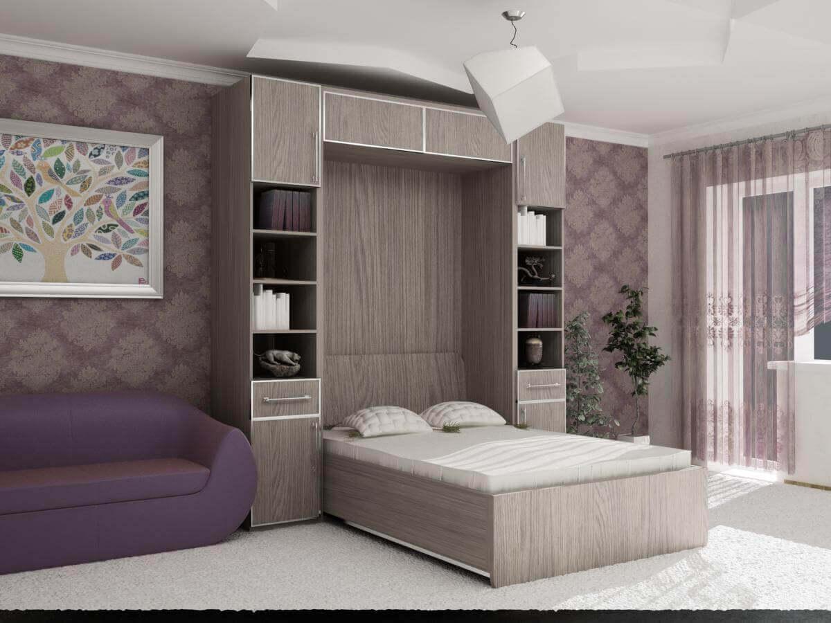 Дизайн встроенной кровати в шкаф
