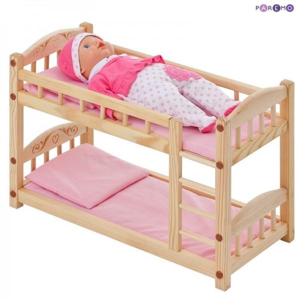 Двухъярусная кровать для кукол розовый текстиль