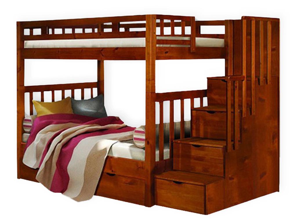 Двухъярусная кровать из массива с лесенкой-ящиками