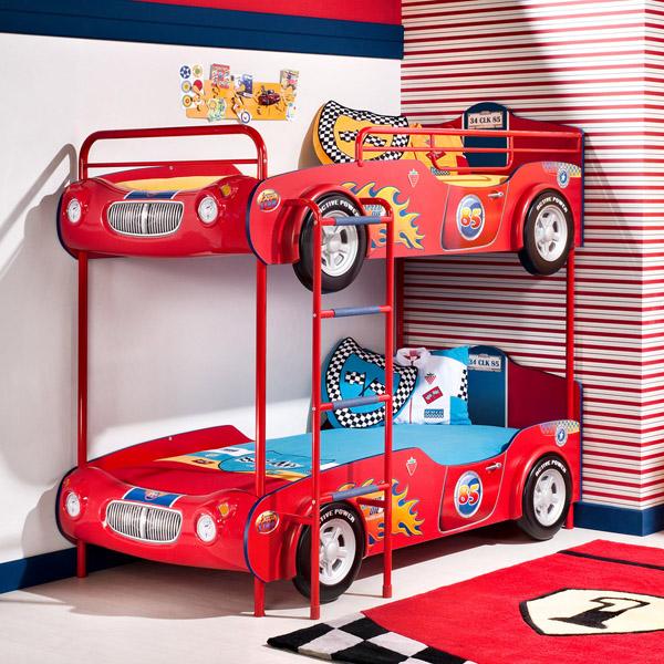 Двухъярусная кровать машина с двумя одинаковыми машинами