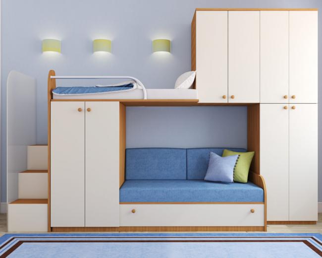 Двухъярусная кровать с диваном внизу и дополнительными шкафчиками