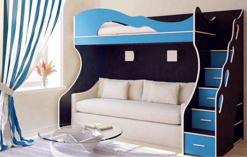 Двухъярусная кровать с прямым раскладным диваном для сна внизу