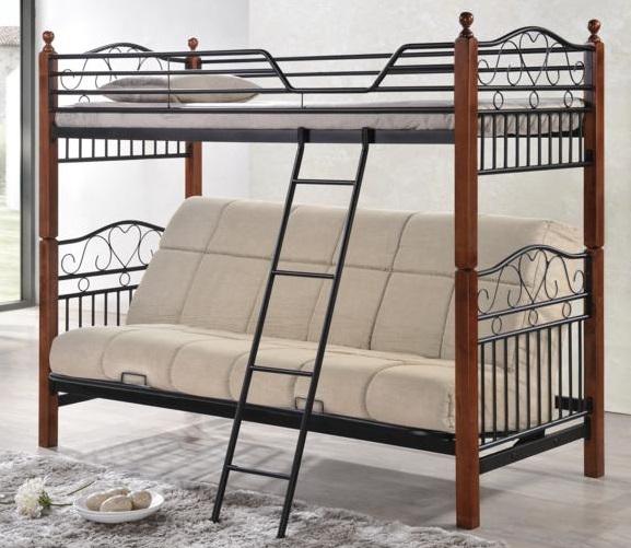 Двухъярусная кровать с раскладывающимся нижним диваном из массива дерева