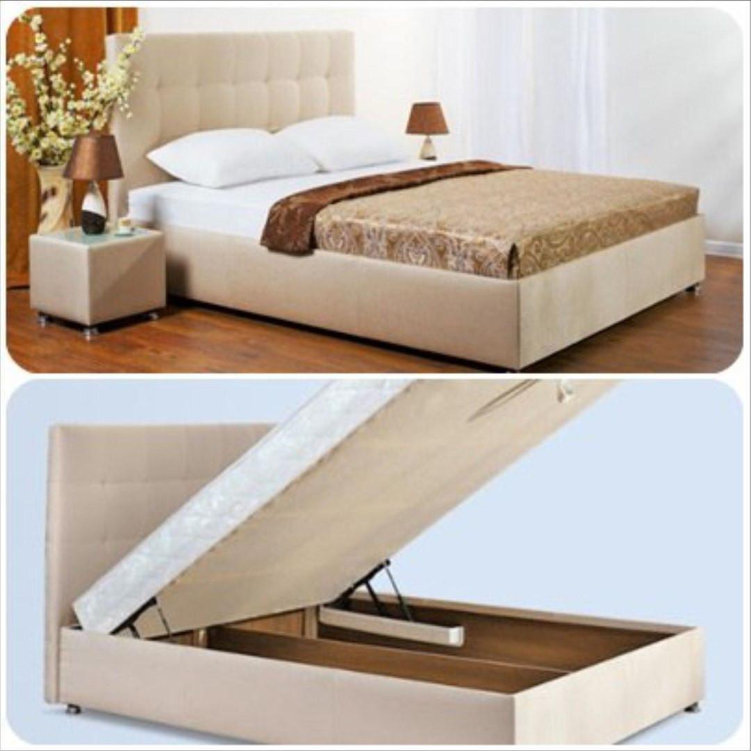 Двуспальная кровать с подъемным механизмом и мягким изголовьем